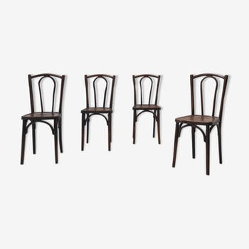 Suite de 4 chaises bistrot en bois courbé