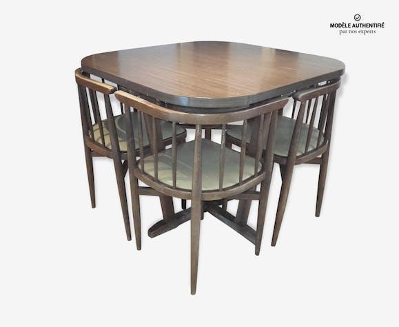 table et chaise encastrable thonet 1960 bois mat riau marron vintage hj7qjm8. Black Bedroom Furniture Sets. Home Design Ideas