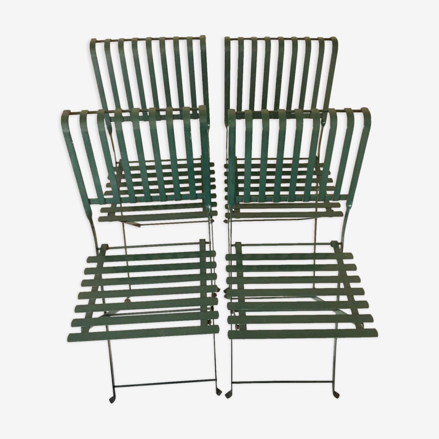 Lot de 4 chaises de jardin pliantes en métal