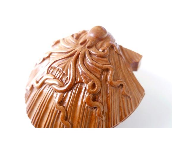 Boîte coquillage en bois années 70