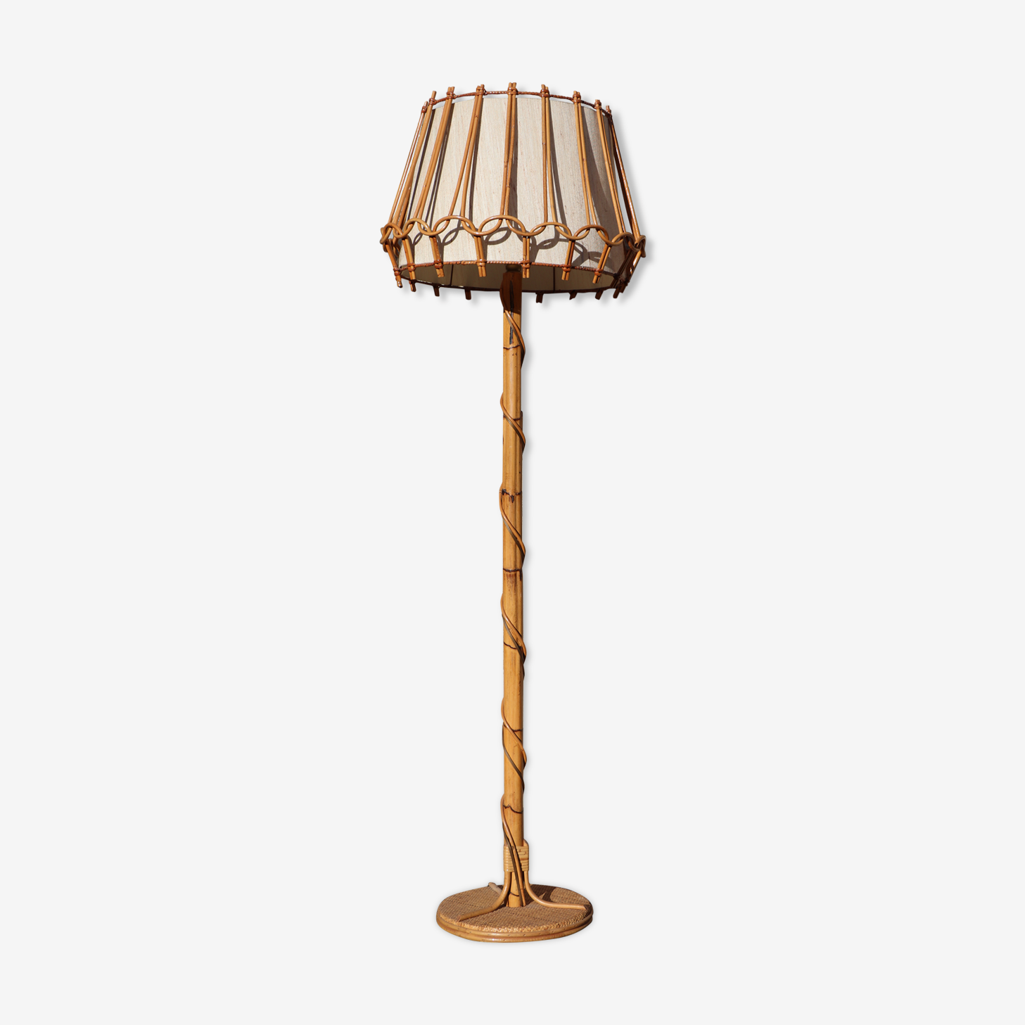 Lamp in wicker and bamboo 60 years