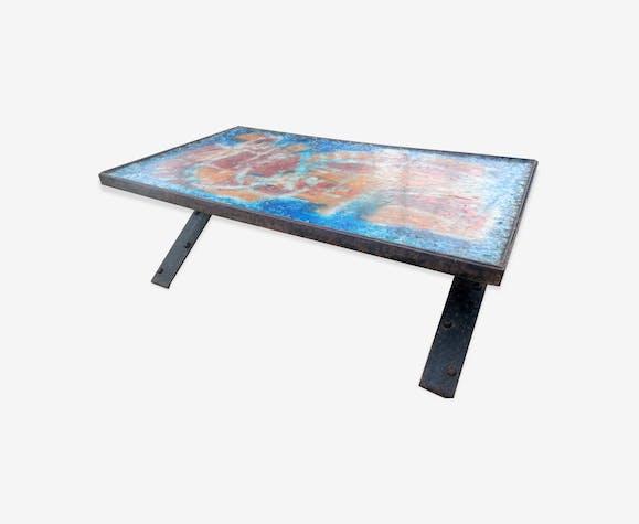 table basse en r sine fractal ann es 70 fer. Black Bedroom Furniture Sets. Home Design Ideas