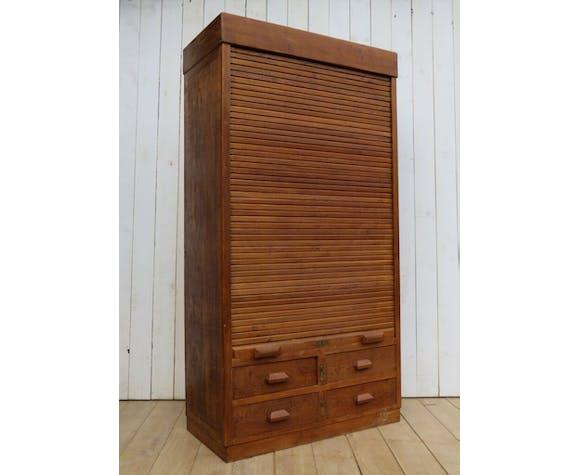 Oak industrial haberdashery tambour cupboard