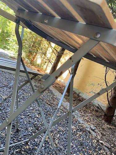 Salon de jardin vintage bois et metal