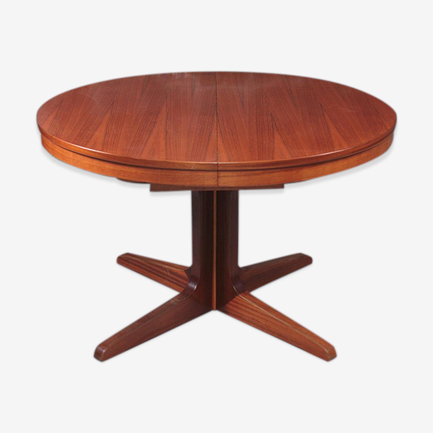 Table ronde en bois et teck - vintage