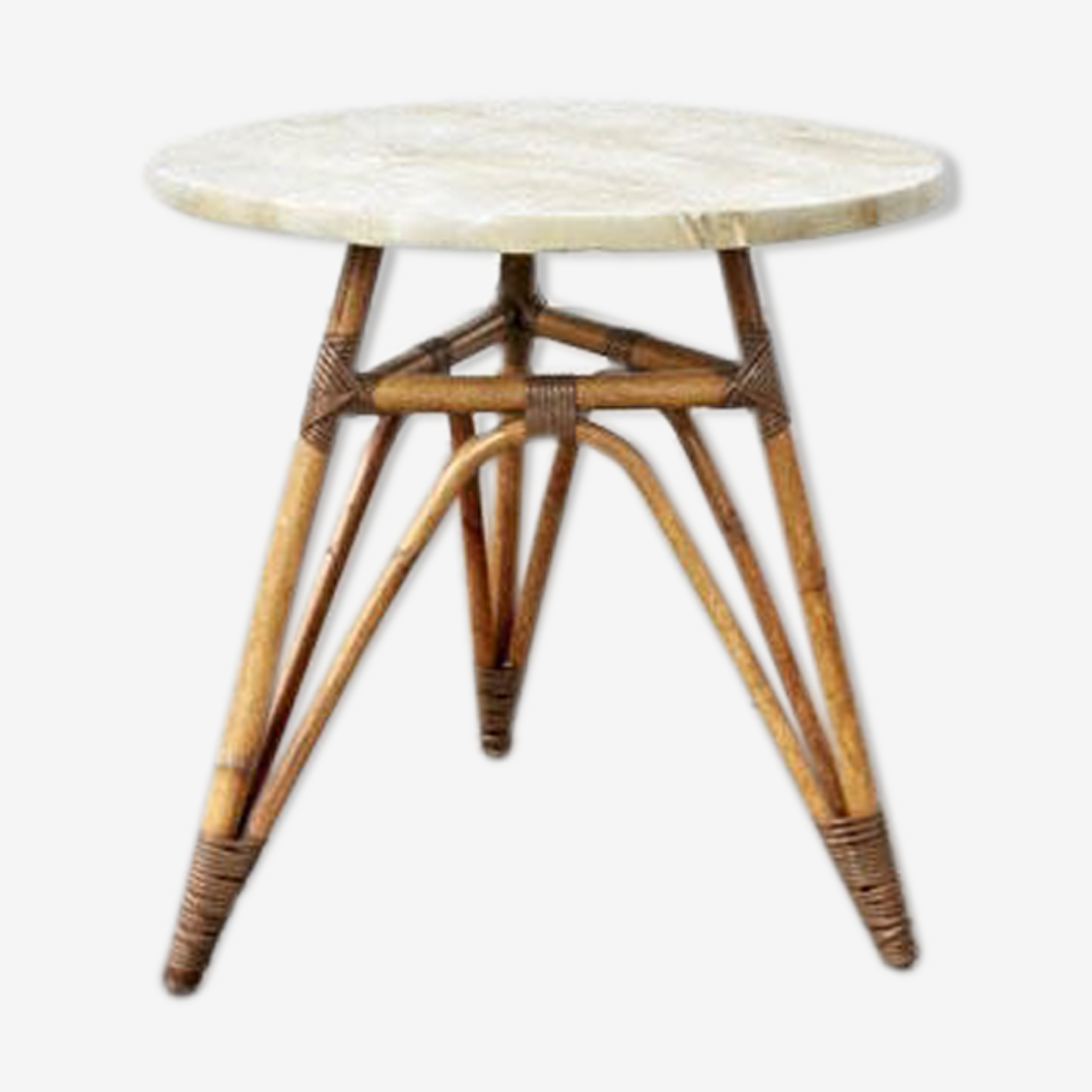 Marble and rattan table