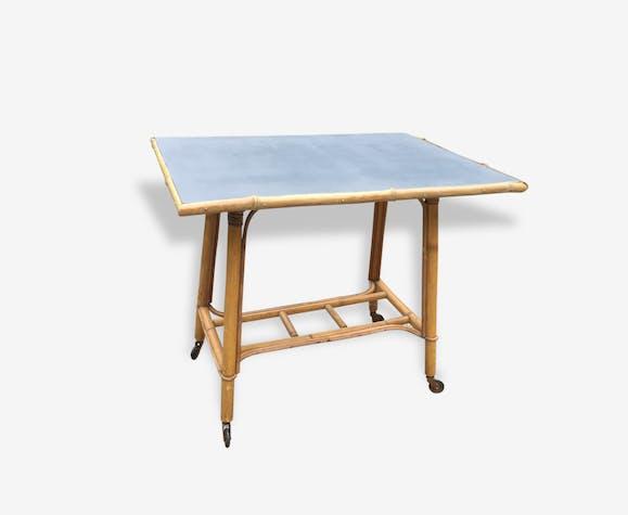 Petite Table Basse D Appoint Chevet En Rotin Vintage
