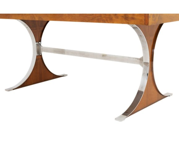R.-j. caillette, table sylvie, palissandre et acier inoxydable, ed. charron, 1961