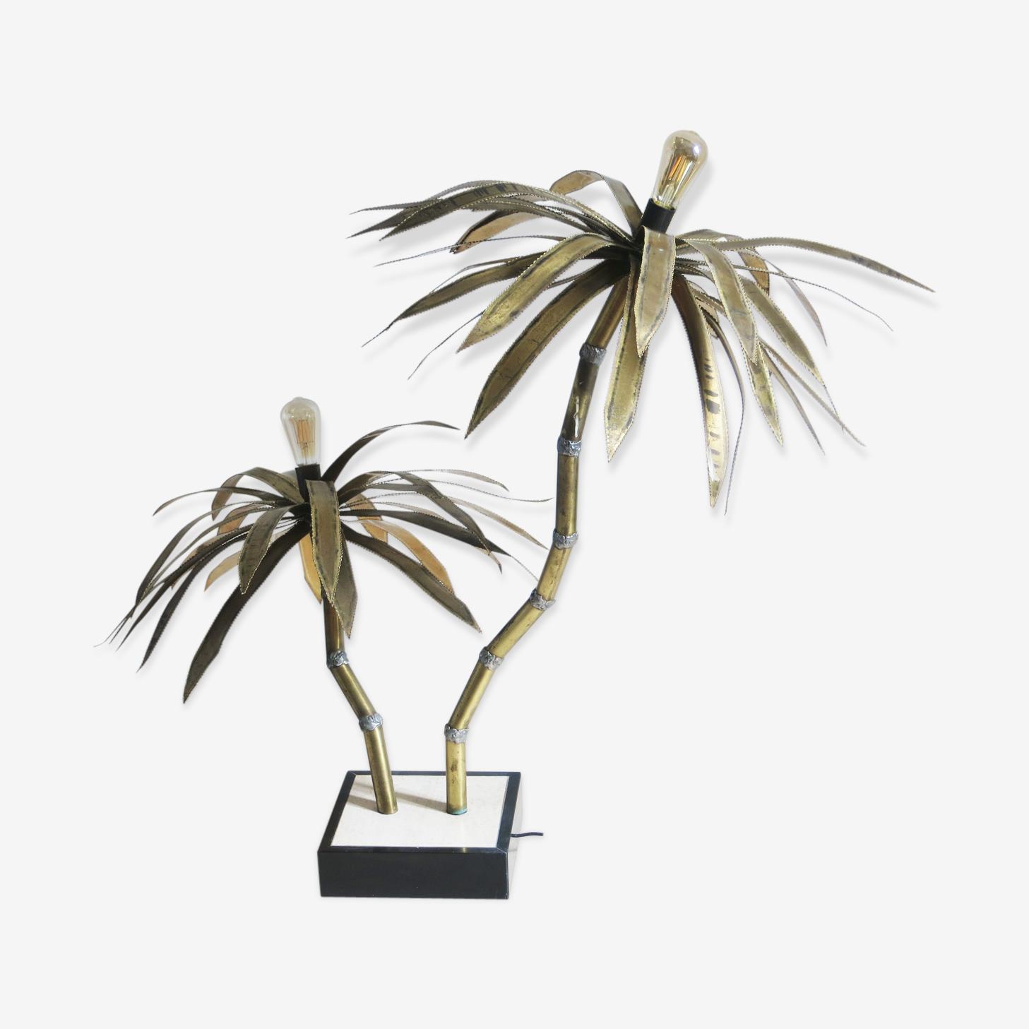 Lampadaire palmier en laiton années 70
