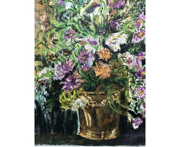 Painting, still life with wild flowers, signed, year 70/80