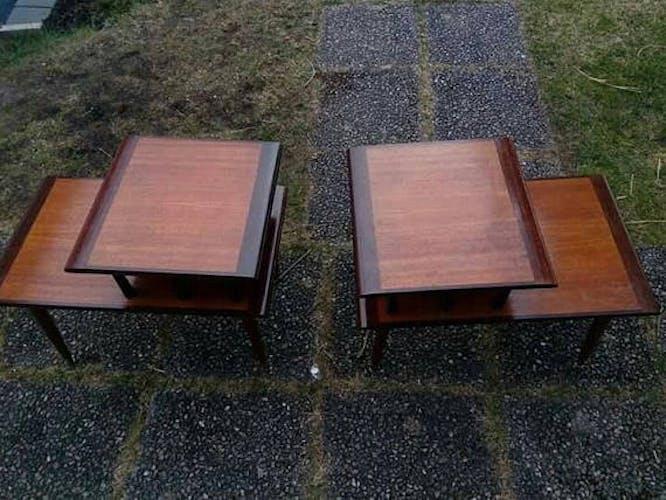 Paire de tables vintage bout de canapé scandinave années 50-60