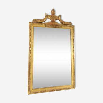 19th-century sculptured and gold empire-style mirror  - 87x50