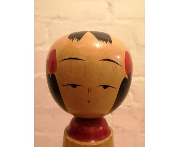1960s Kokeshi japanese wooden hand painted doll
