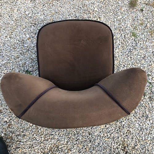 Lot de 2 fauteuils cocktail velours brun