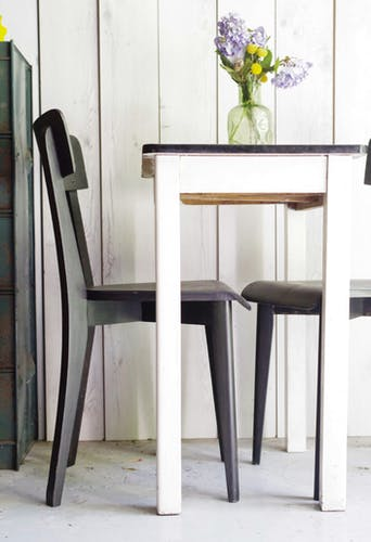Pair of black vintage bistro chairs