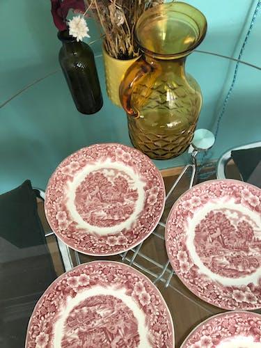 Set de 4 assiettes à dessert vintage rouge
