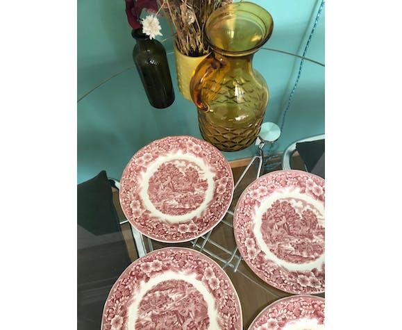 4 red vintage dessert plates