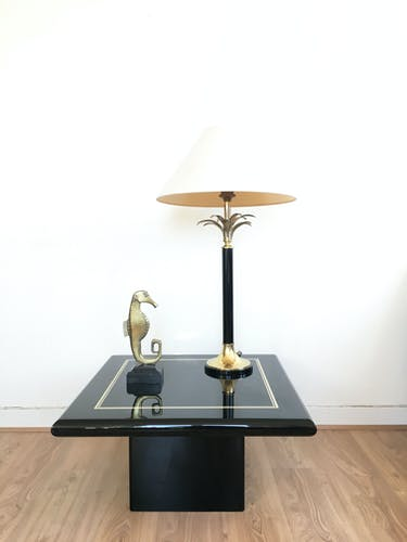 1970 vintage black lacquered coffee table