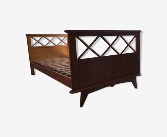 Vintage raw wooden bed