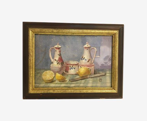 Tableau d'une nature-morte : pichets aux citrons