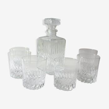 Vintage whisky glasses and carafe set