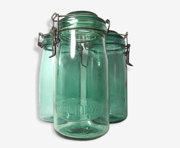 11e97c5748 1 ancien bocal en verre de couleur vert d'eau, 1 litre - verre et ...