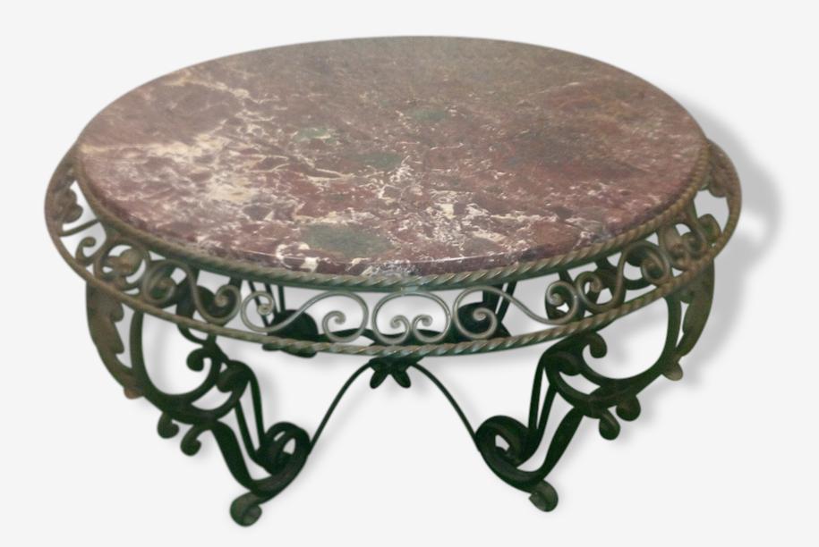 Table Basse Art Deco Fer Forge Et Marbre Fer Vert Art Deco