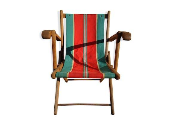 fauteuil pliant toile vintage - bois (Matériau) - multicolore ...
