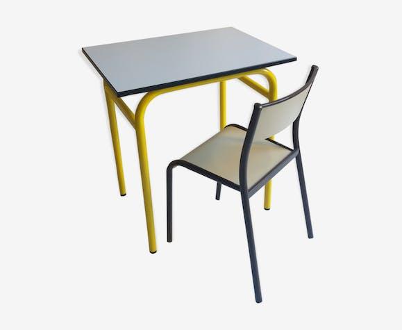 Vintage Sa Et Jaune Chaise Bureau Boismatériau EDH2I9YW
