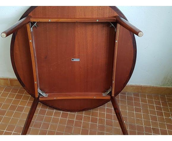 Table basse ronde palisandre de rio - mobelintatsia danemark 60/70s tbetat.