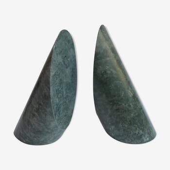 Serpentine marble bookends 1970's