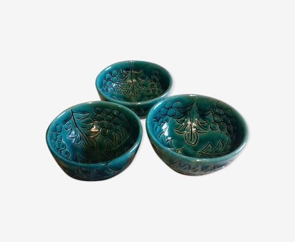 Trio de coupelles en céramiques verts motifs feuilles de vigne/grappes de raisins