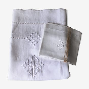 drap ancien en m tis brod 210 x 300 cm tissu blanc. Black Bedroom Furniture Sets. Home Design Ideas