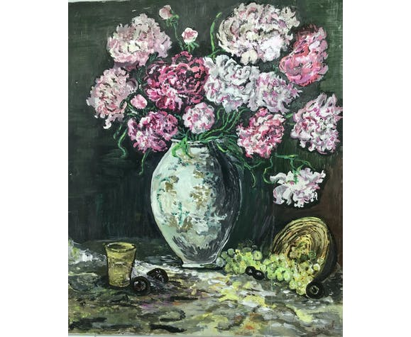 Painting, still life with carnations, glass and basket of grapes, signed, 70s/80s