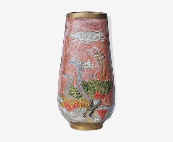 Vase Indien gravé avec oiseaux
