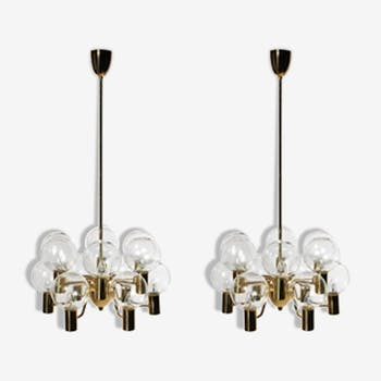 Pair of Scandinavian chandeliers by Hans Agne Jakobsson