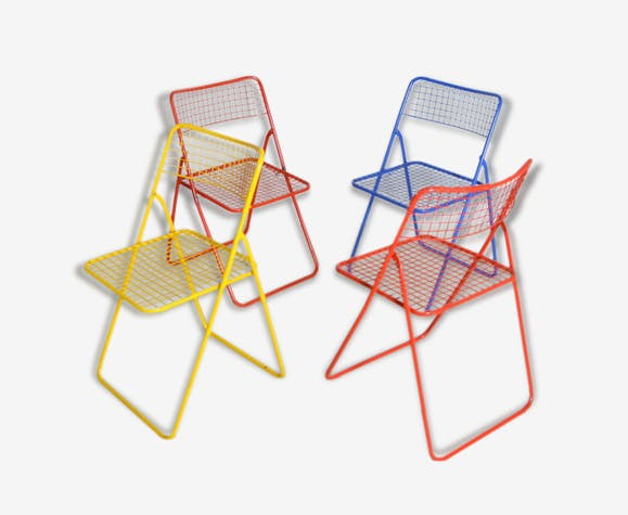 Quatre Chaises Pliante Metal Colores Annees 70