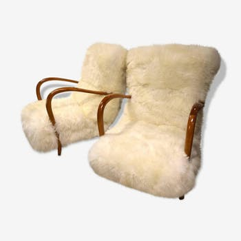 Pair of chairs in mouton fur