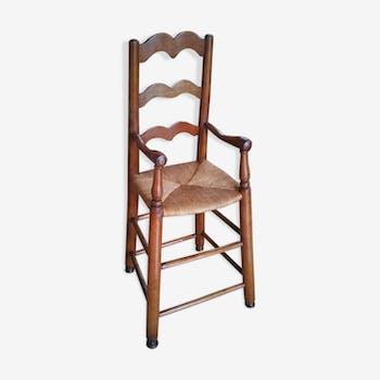 Chaise haute pour enfant en merisier ancienne