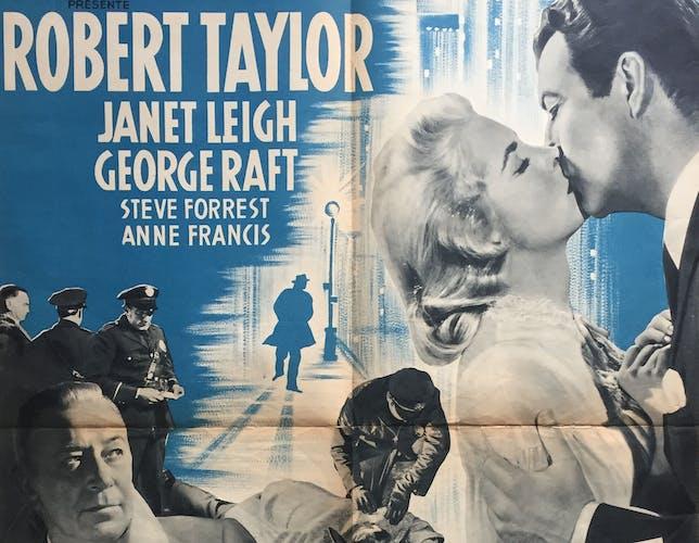 """Affiche cinéma """"Sur la trace du crime"""" 60x80cm 1954"""