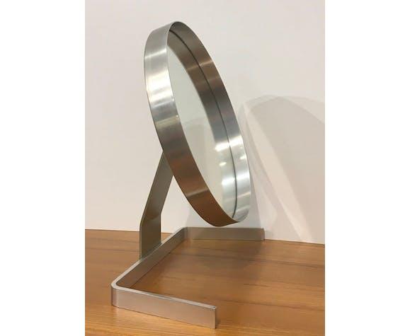 Miroir psyché par Guy Lefèvre aluminium brosse pour Maison Jansen France 1970
