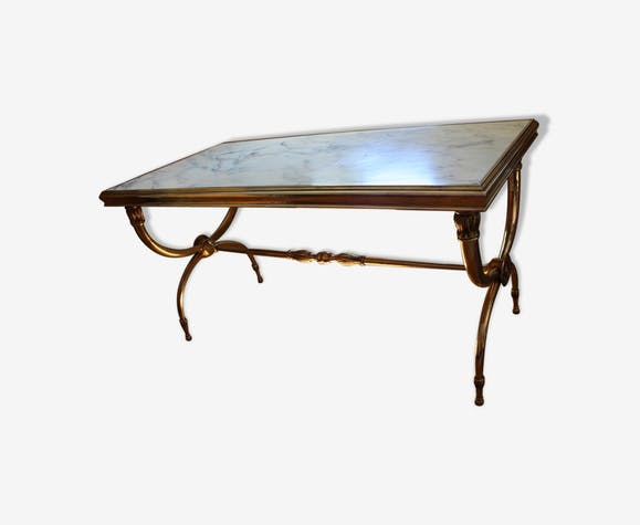 Coffee Table Marble Br And Bronze 70s