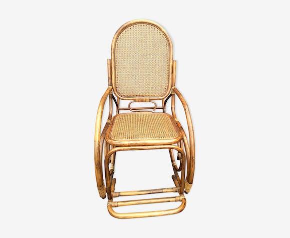 Rocking Chair Ancien Rotin Avec Repose Pieds Rotin Et Osier