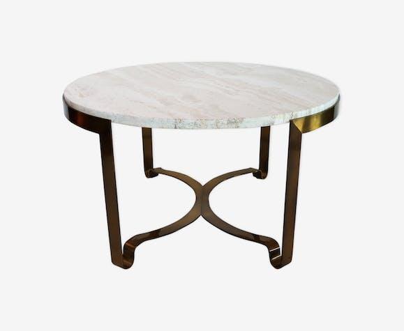 Table basse en marbre travertin années 1970
