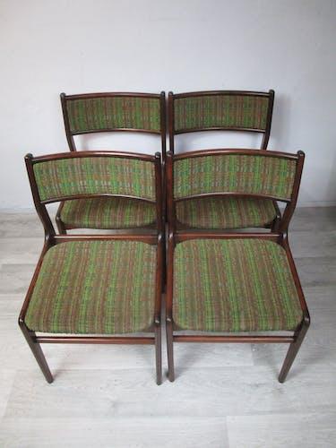 Ensemble de quatre chaises, Danemark, années 1970