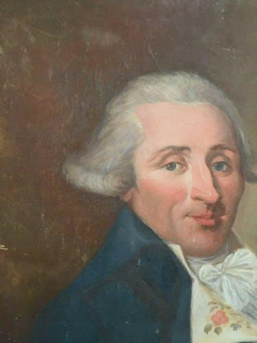 Huile sur toile portrait XVllleme gentilhomme en costume
