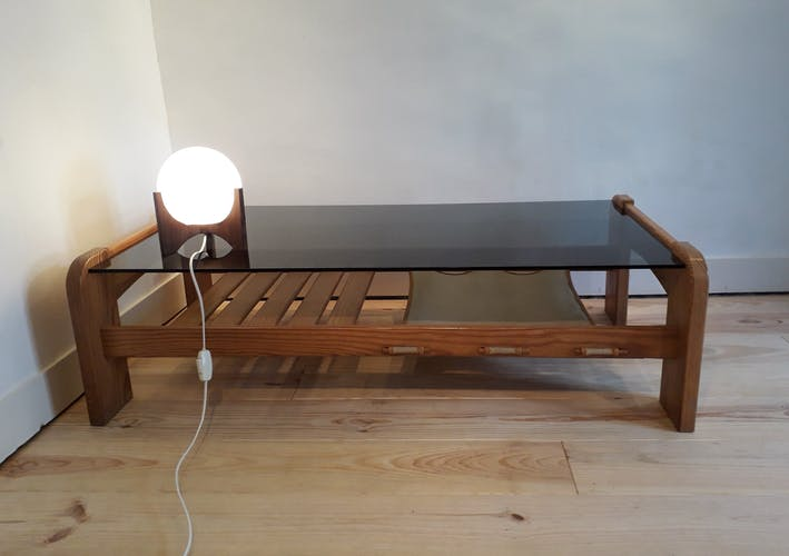 Table low pine and smoked glass