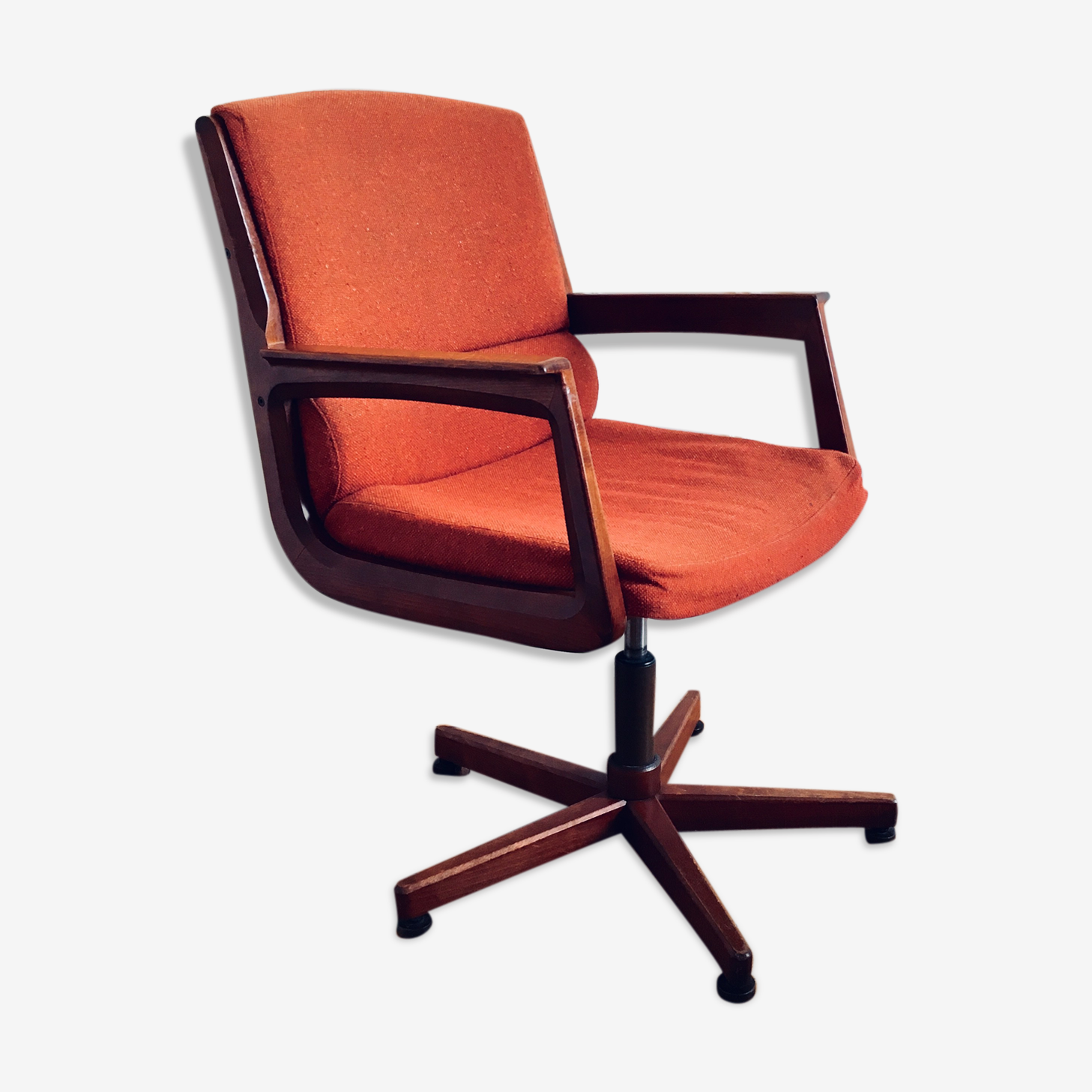 Scandinavian office vintage chair in teak and fabric