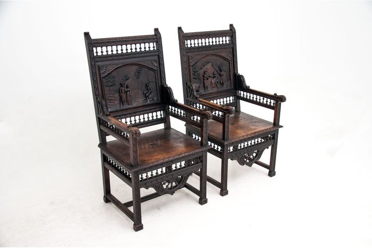 Wooden armchairs