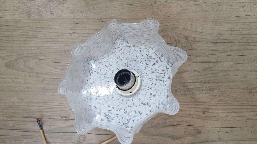 Suspension vintage en verre murano blanc